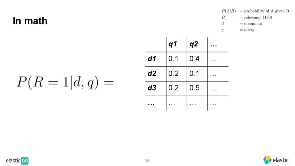 30 In math q1 q2 … d1 0.1 0.4 … d2 0.2 0.1 … d3...