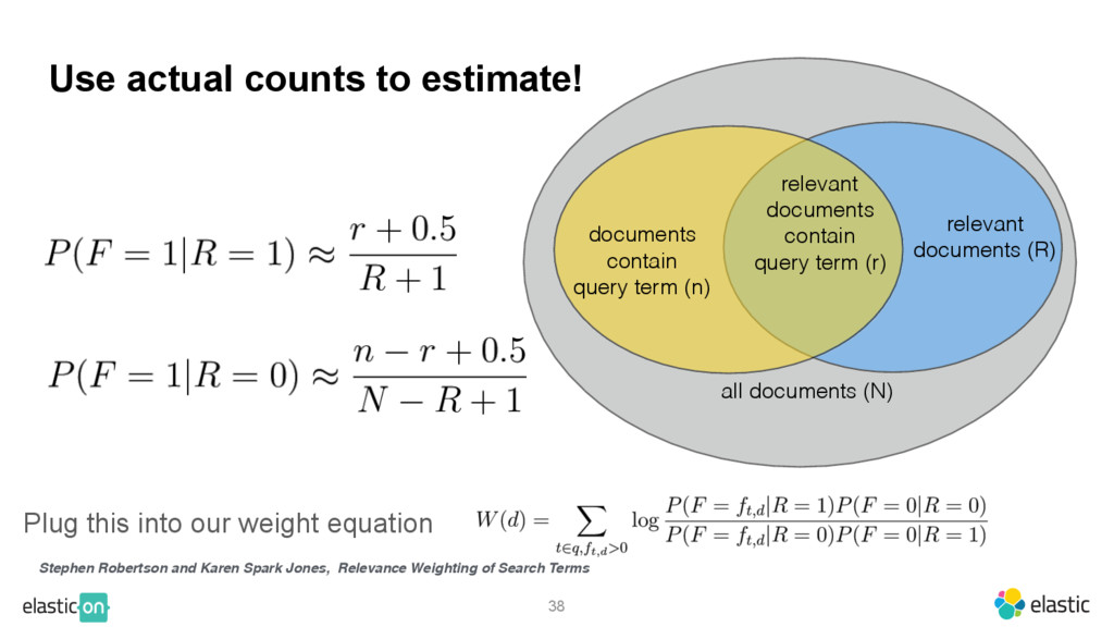 38 Use actual counts to estimate! Plug this int...