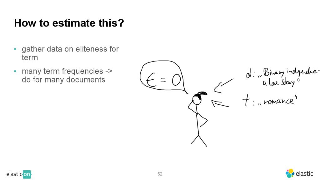 52 How to estimate this? • gather data on elite...