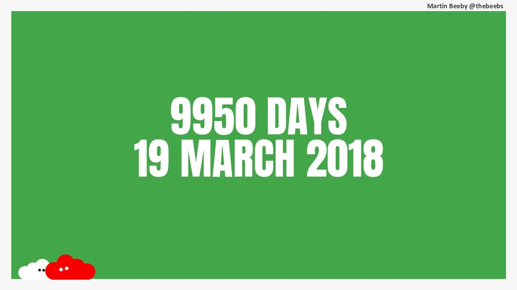 Martin Beeby @thebeebs 9950 DAYS 19 MARCH 2018
