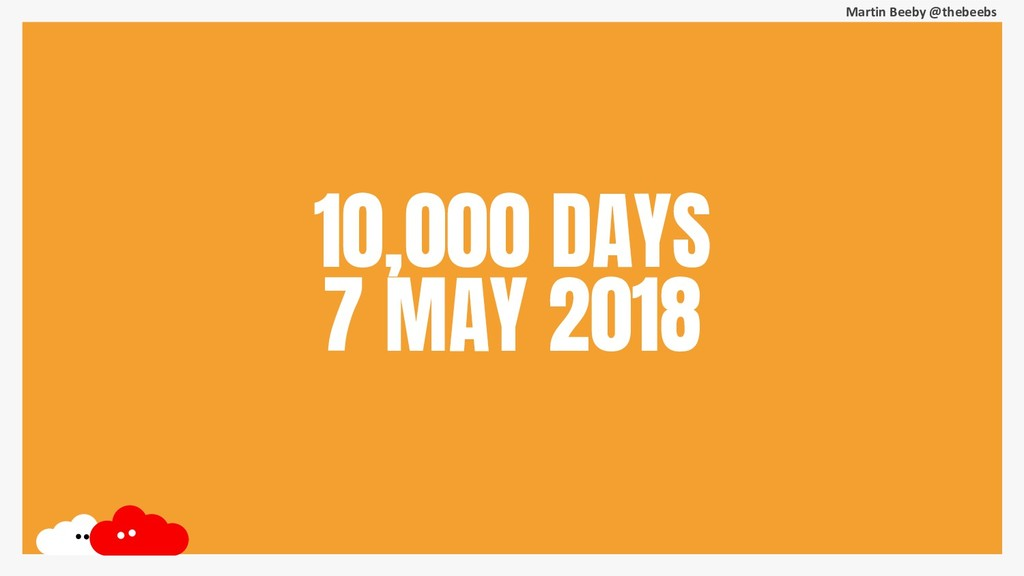 Martin Beeby @thebeebs 10,000 DAYS 7 MAY 2018