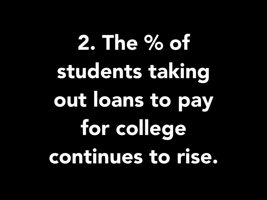2. The % of students taking out loans to pay fo...