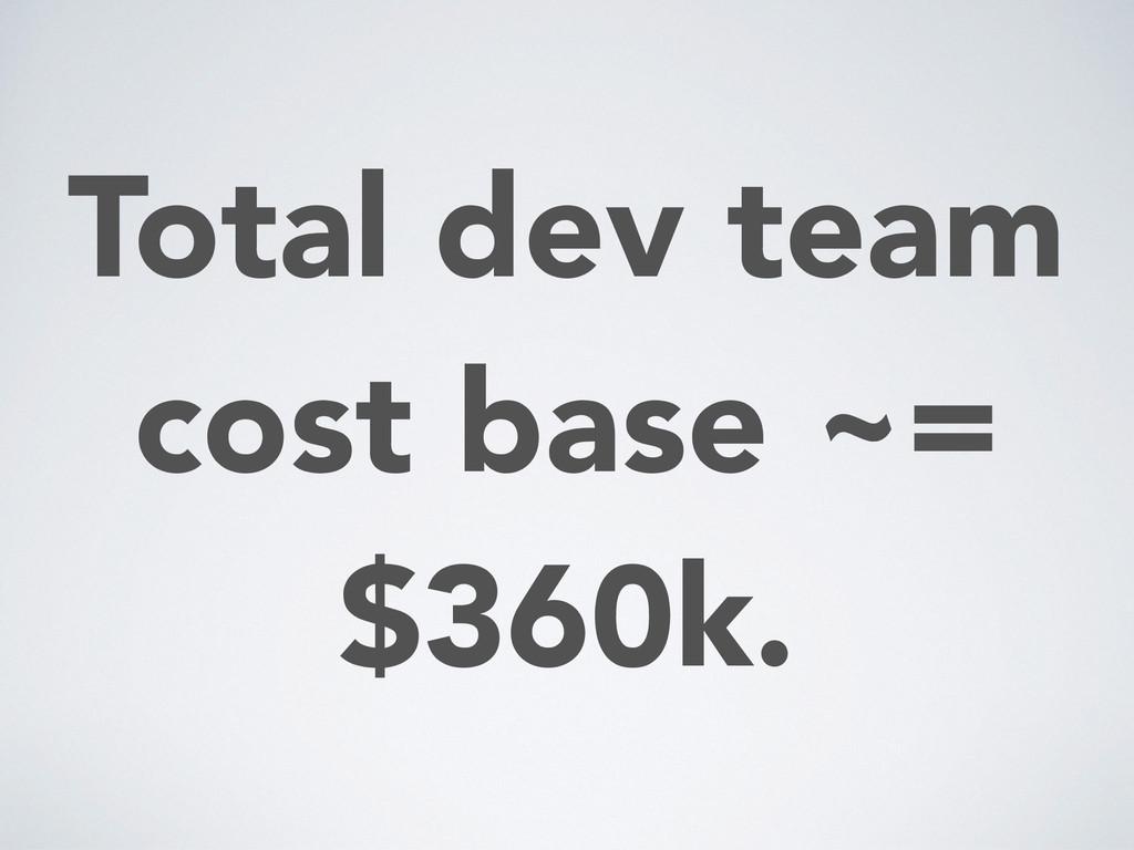 Total dev team cost base ~= $360k.