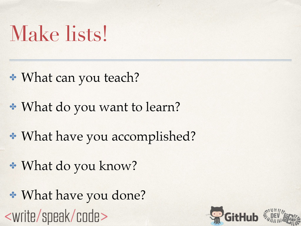 Make lists! ✤ What can you teach?! ✤ What do yo...