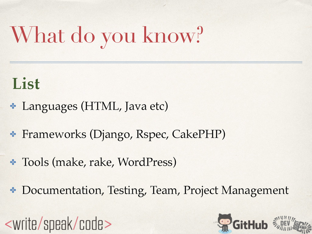 What do you know? ✤ Languages (HTML, Java etc)!...