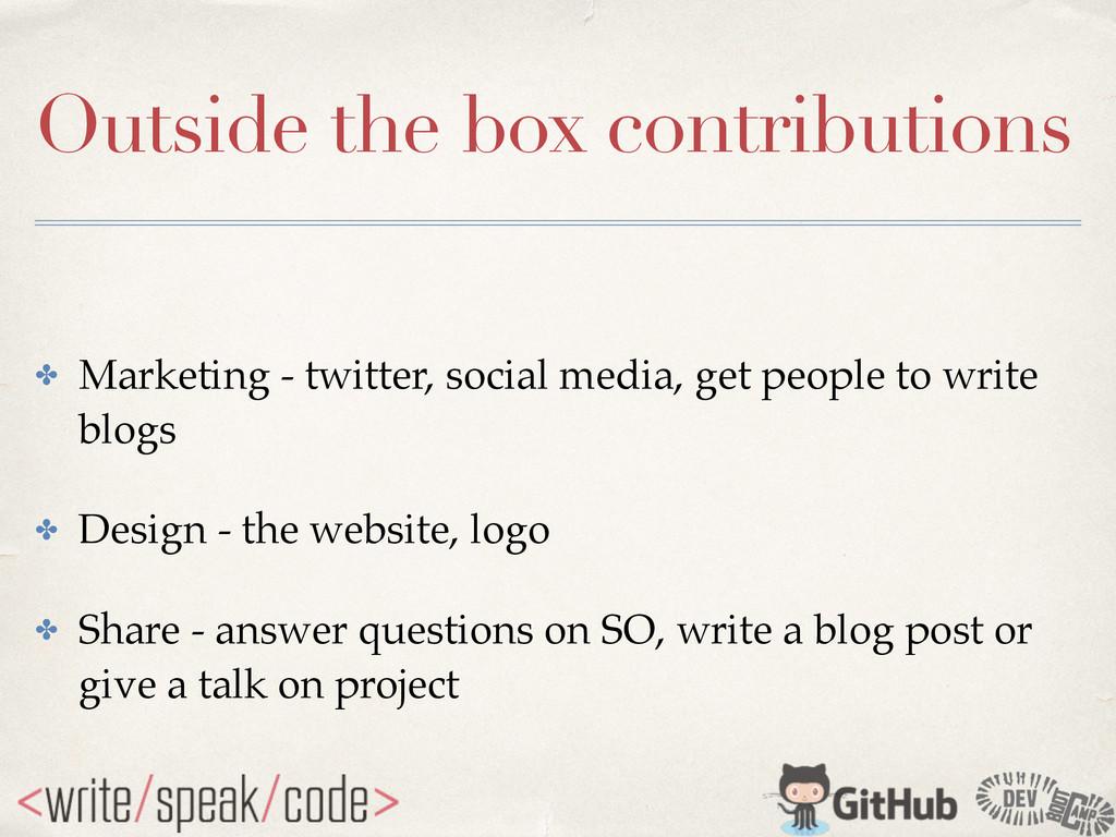 Outside the box contributions ✤ Marketing - twi...