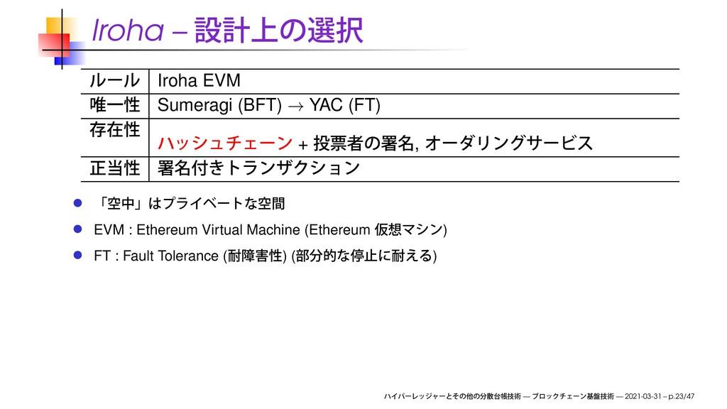 Iroha – Iroha EVM Sumeragi (BFT) → YAC (FT) + ,...