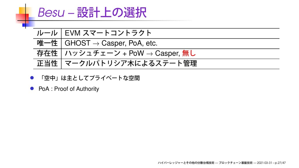 Besu – EVM GHOST → Casper, PoA, etc. + PoW → Ca...