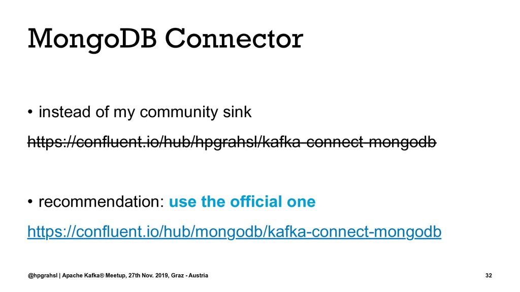 MongoDB Connector • instead of my community sin...