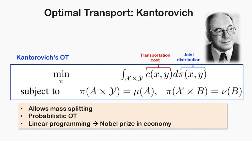 Optimal Transport: Kantorovich Kantorovich's OT...