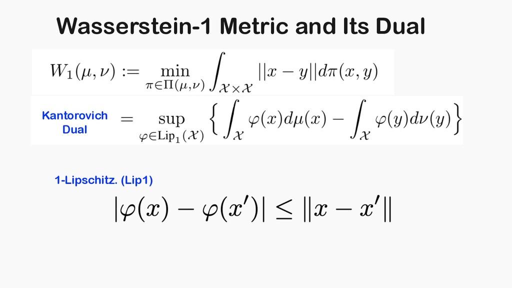 Wasserstein-1 Metric and Its Dual Kantorovich D...