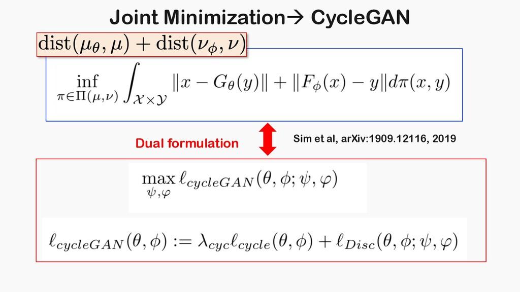 Joint Minimizationà CycleGAN Dual formulation S...