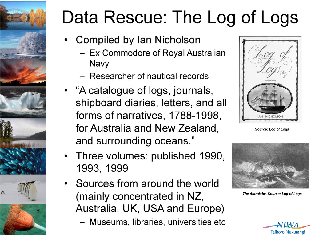 Data Rescue: The Log of Logs •  Compiled by Ian...