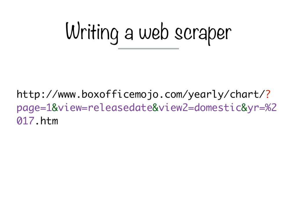Writing a web scraper http://www.boxofficemojo....