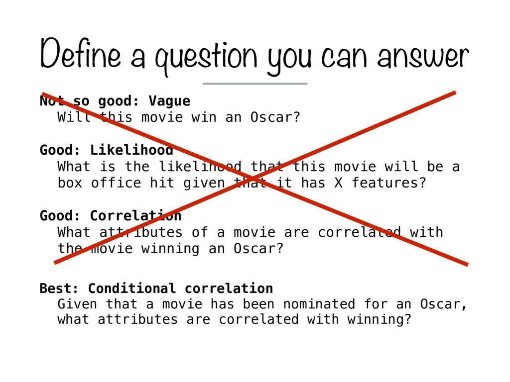 Not so good: Vague Will this movie win an Oscar...