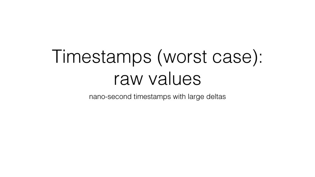 Timestamps (worst case): raw values nano-second...