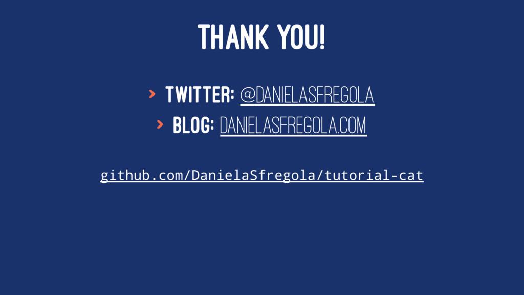 THANK YOU! > Twitter: @DanielaSfregola > Blog: ...