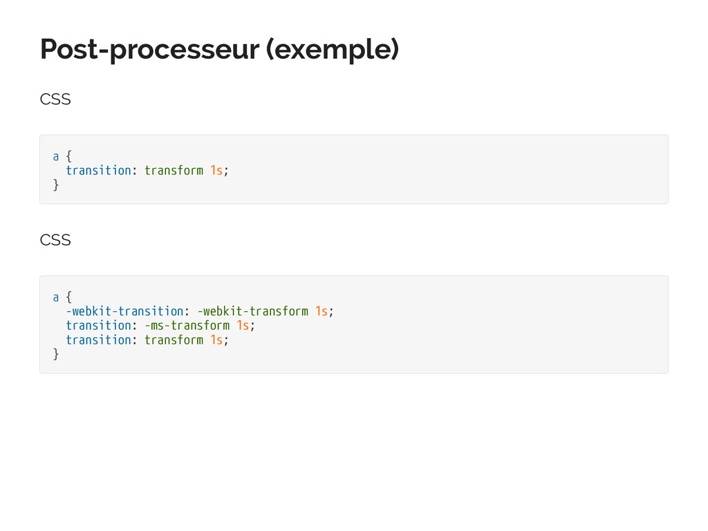 Post-processeur (exemple) CSS a { transition: t...