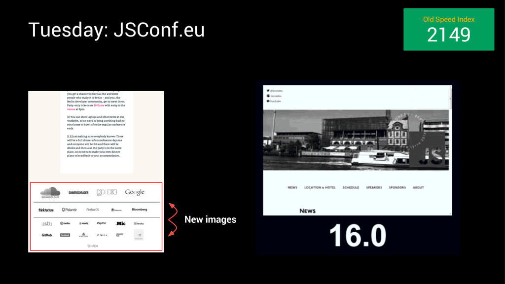 Tuesday: JSConf.eu New images Old Speed Index 2...