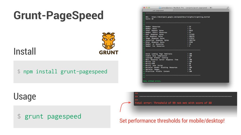 Grunt-PageSpeed $ npm install grunt-pagespeed $...