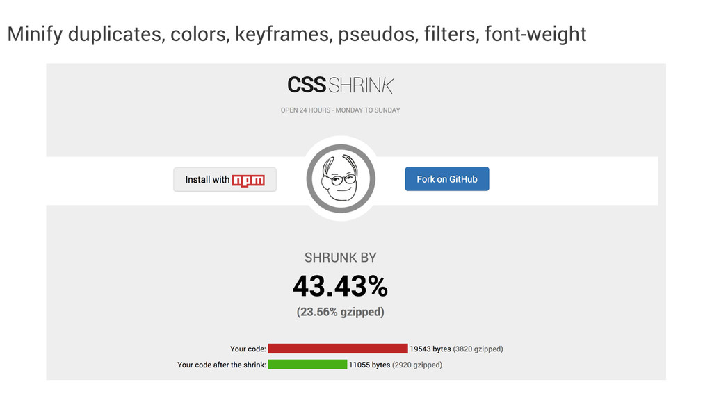 Minify duplicates, colors, keyframes, pseudos, ...