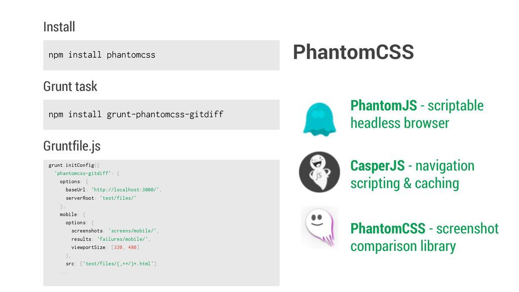 npm install phantomcss Install grunt.initConfig...