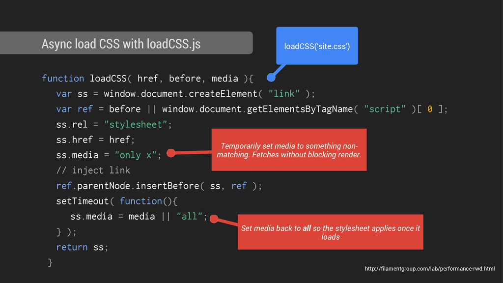 function loadCSS( href, before, media ){ var ss...