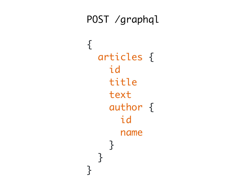 POST /graphql { articles { id title text author...