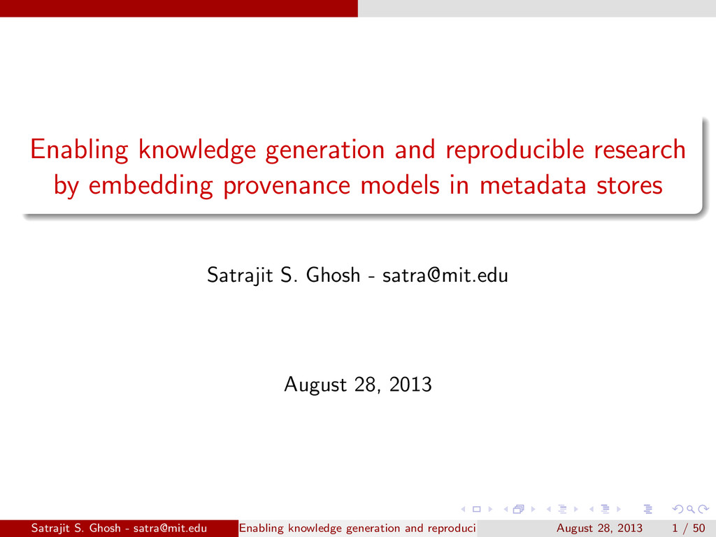Enabling knowledge generation and reproducible ...
