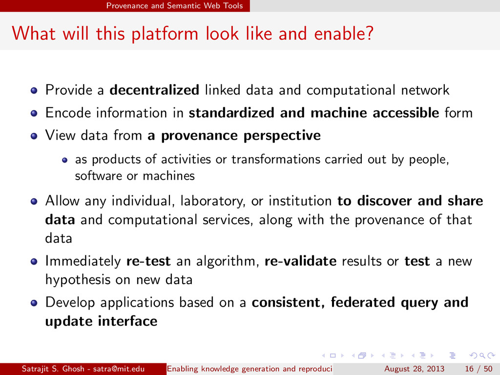 Provenance and Semantic Web Tools What will thi...
