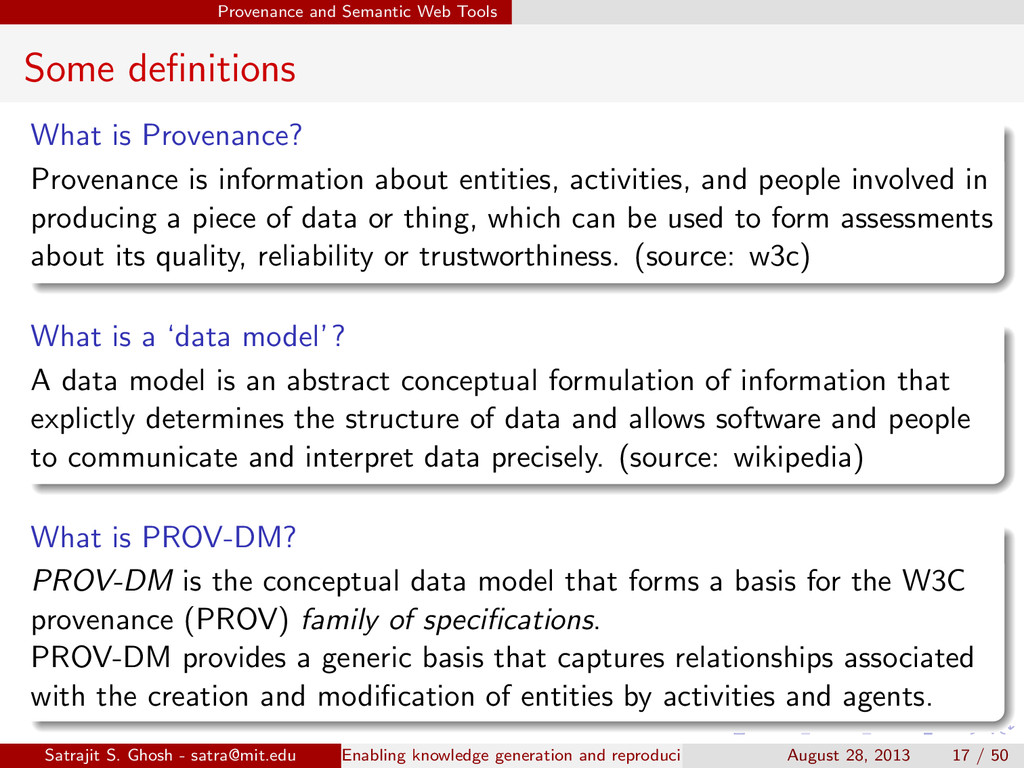 Provenance and Semantic Web Tools Some definitio...