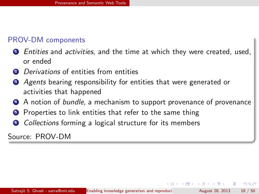 Provenance and Semantic Web Tools PROV-DM compo...