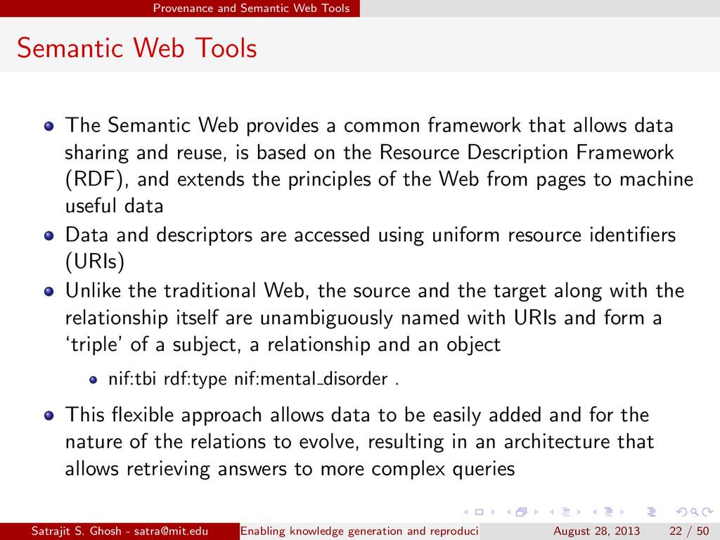 Provenance and Semantic Web Tools Semantic Web ...