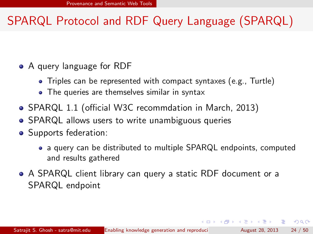 Provenance and Semantic Web Tools SPARQL Protoc...