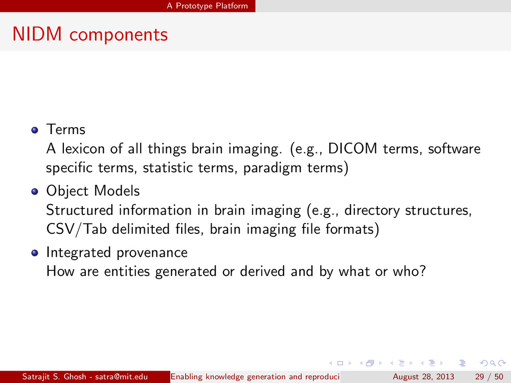 A Prototype Platform NIDM components Terms A le...