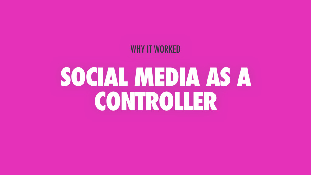 SOCIAL MEDIA AS A CONTROLLER WHY IT WORKED