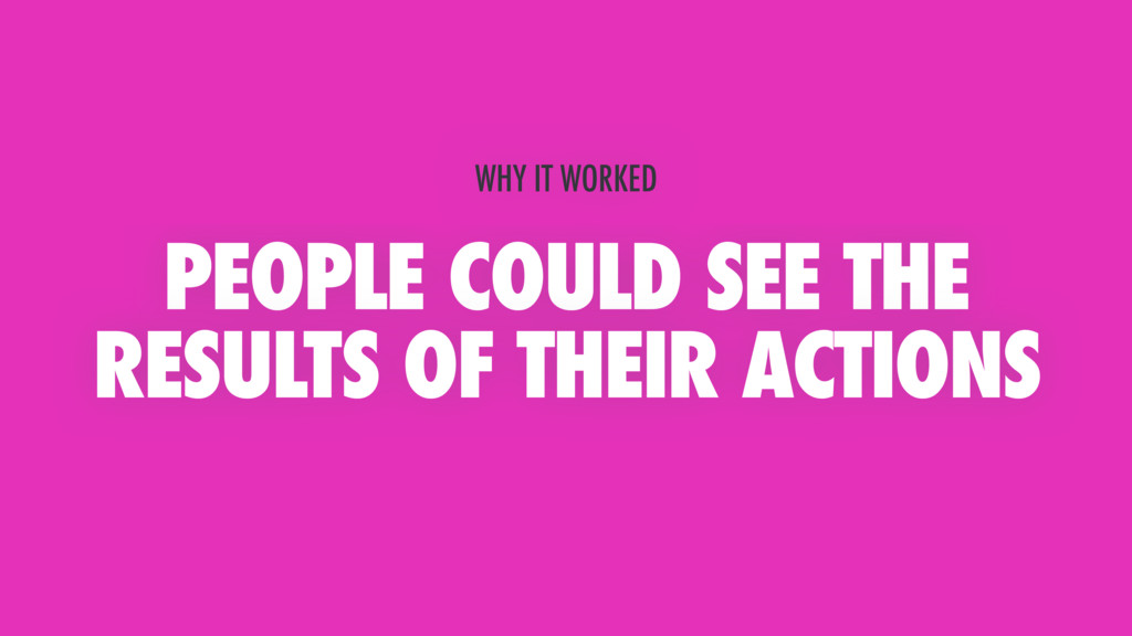 PEOPLE COULD SEE THE RESULTS OF THEIR ACTIONS W...