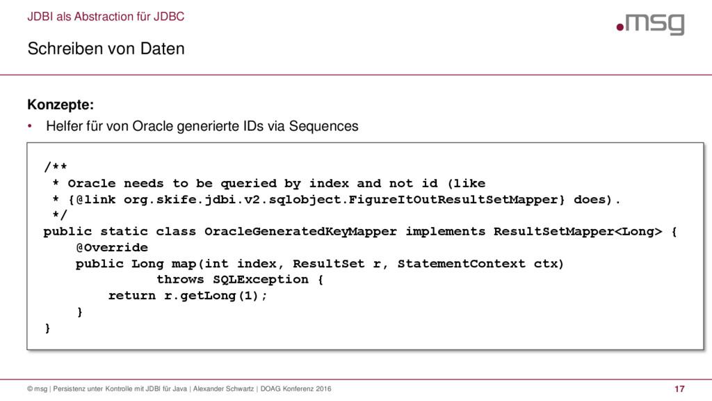 JDBI als Abstraction für JDBC Schreiben von Dat...