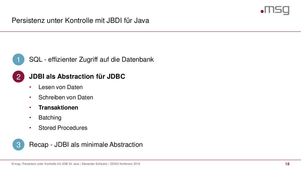Persistenz unter Kontrolle mit JBDI für Java 18...
