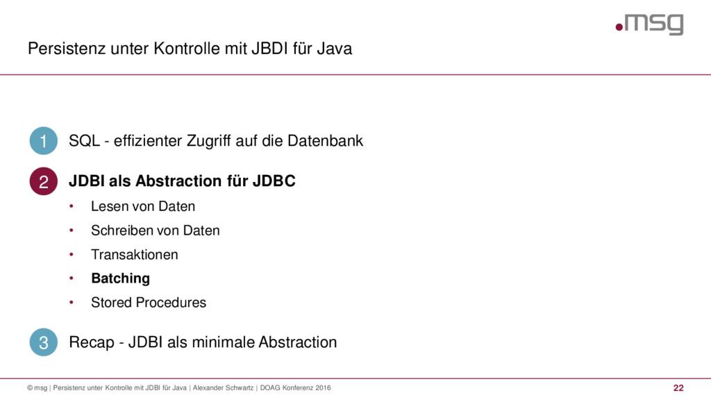 Persistenz unter Kontrolle mit JBDI für Java 22...