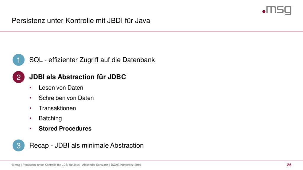 Persistenz unter Kontrolle mit JBDI für Java 25...