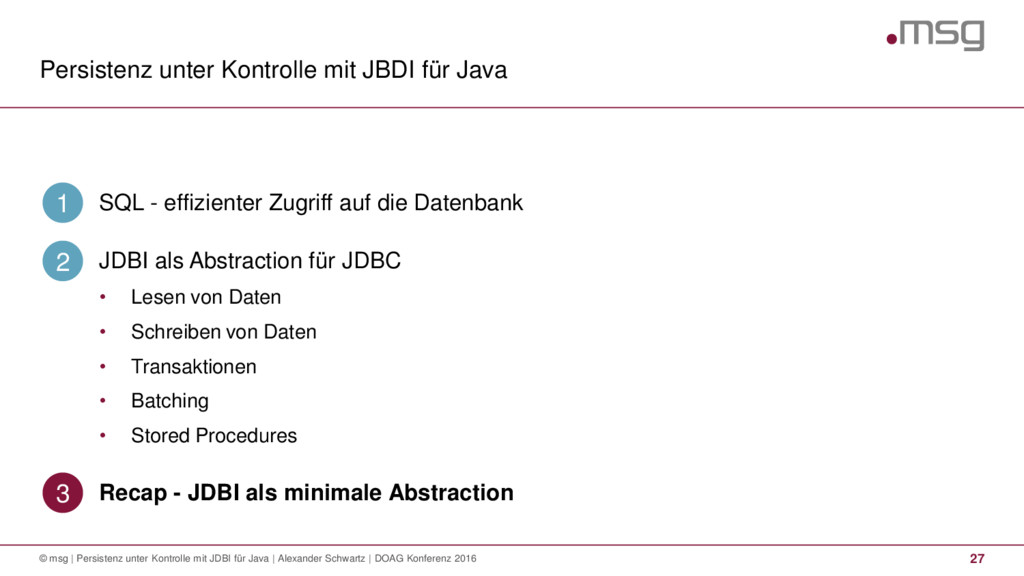 Persistenz unter Kontrolle mit JBDI für Java 27...