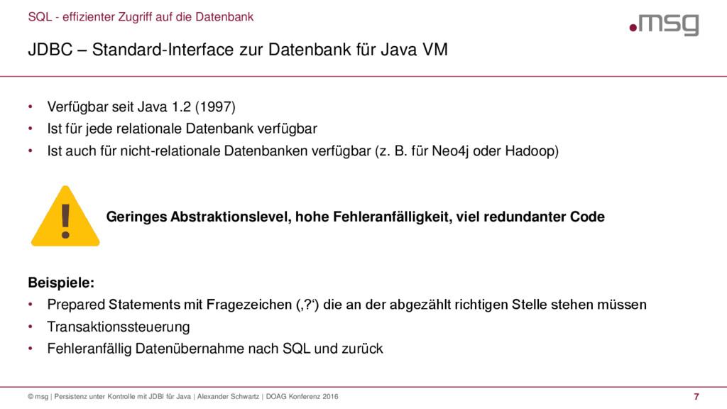SQL - effizienter Zugriff auf die Datenbank JDB...
