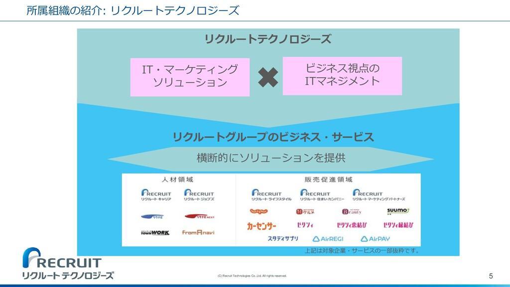 所属組織の紹介: リクルートテクノロジーズ 5 (C) Recruit Technologie...