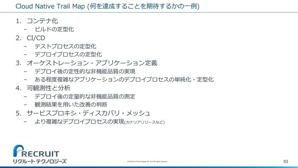 Cloud Native Trail Map (何を達成することを期待するかの一例) 1. コ...