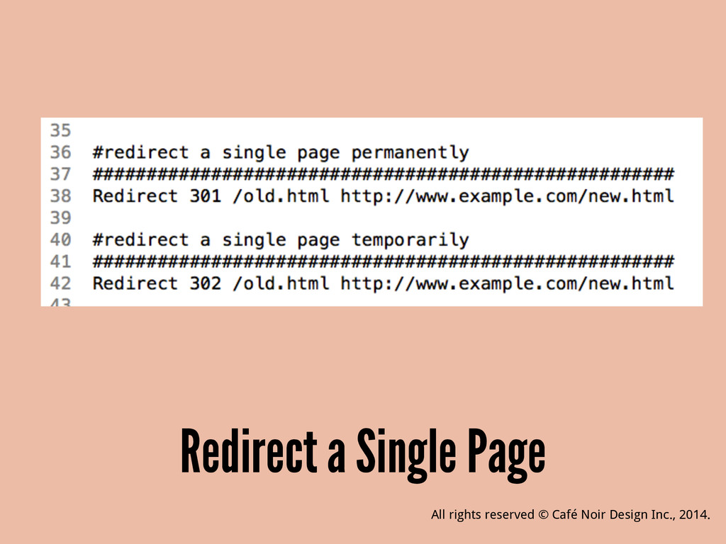 Redirect a Single Page All rights reserved © Ca...