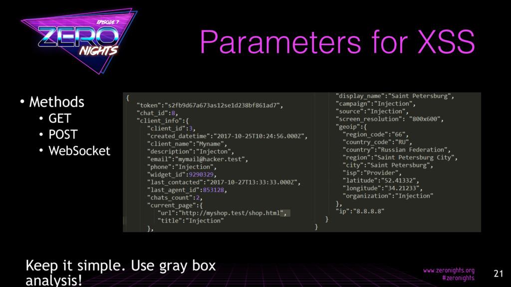 • Methods • GET • POST • WebSocket Parameters f...