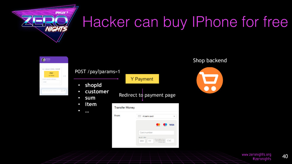 Hacker can buy IPhone for free POST /pay?params...