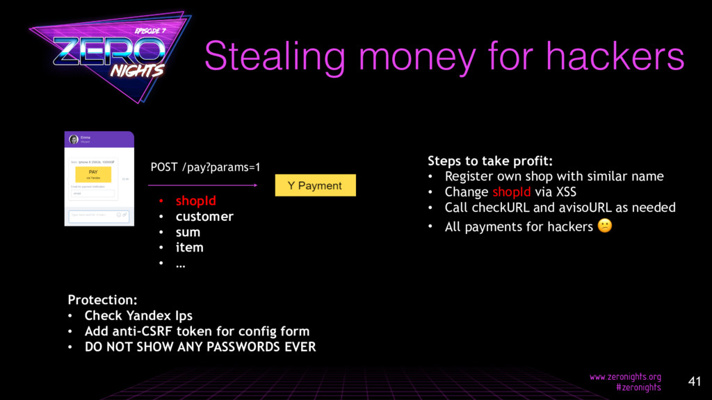 Stealing money for hackers POST /pay?params=1 •...