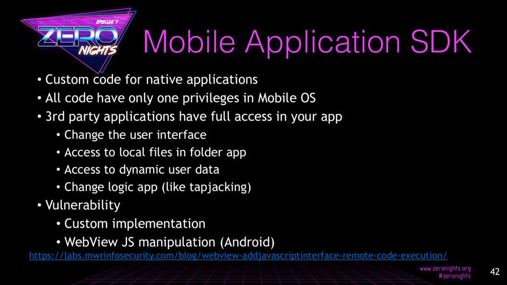 • Custom code for native applications • All cod...